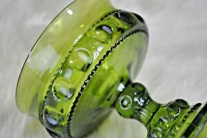 Vintage Collectible Depression Green Glass Wine Goblet Kings Crown Thumbprint