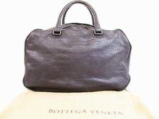 Auth BOTTEGA VENETA Goat Leather Metallic Gray Hand Bag Mini Boston Bag #5061
