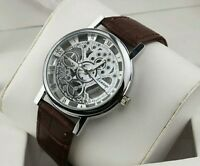 Luxury Men's Hollow Skeleton Manual Mechanical LOOK Stainless Steel Wrist Watch