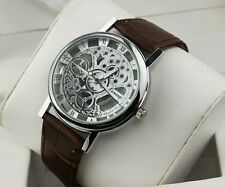 Luxury Men's Hollow Skeleton Manual Mechanical Stainless Steel Wrist Watch