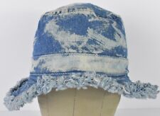 Blue Jean Acid Washed Rippled Tattered Bucket Boonie Hat Cap Fitted