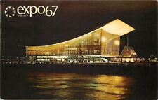 Montreal Quebec~Expo 67~Soviet Union Pavilion at Night~1967 Postcard