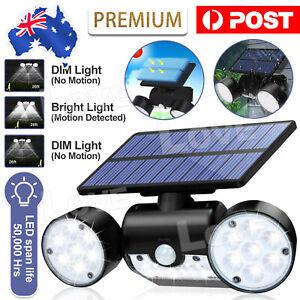 360 Degree Rotatable Solar Lights Outdoor Motion Sensor Dual Head Spotlights AU