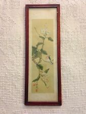"""Vintage Japanese Hand Colored Framed Painting on Cloth 5.5"""" X 16"""""""