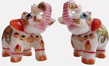 elephant pair marble statue handmade indian art decorative gift traditional