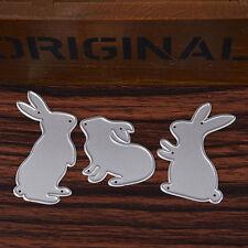 3Pc Metal Rabbit Cutting Dies Stencil Template DIY Scrapbooking Album Card Decor