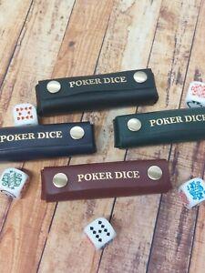 Poker Dice Liar Dice Case With Press Stud Fastener Leather Case UK