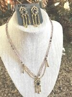 Vtg ART DECO STYLE 1928 Earring Necklace Set Crystal Rhinestone Dangle Nouveau