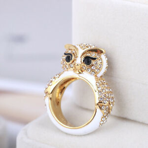 Kate Spade New York Enamel Diamond Snowy Owl Texture Ring With Dust Bag