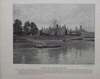 1896 London Stampa + Testo Hampton Tribunale Palazzo Da The Fiume Tamigi