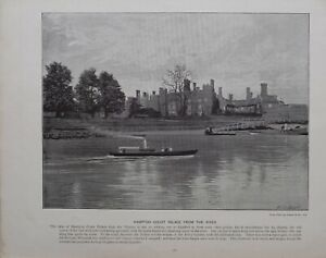 1896 LONDON PRINT + TEXT HAMPTON COURT PALACE FROM THE RIVER THAMES