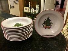 "(1) Cuthbertson ""American CHRISTMAS TREE WHITE"" Red Trim Rim Soup Bowl (8 Avail)"