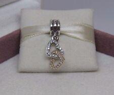 New w/Hinge Box Pandora Interlocked Hearts w/14kt Gold Charm 792068CZ Love