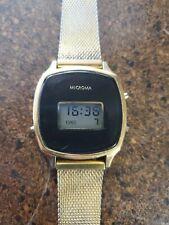 Vintage Microma Quartz Digital LCD Watch Black/Gold fully functional
