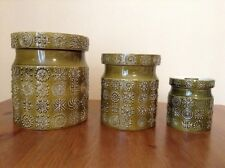 Portmeirion Totem Kitchen Cansister Set of 3 Green Susan William Ellis Vintage