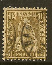 SWITZERLAND:1863 Sitting Helvetia 1F bronze-gold SG 60 used