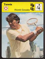 RICARDO GONZALES American Tennis Player Photo 1977 SPORTSCASTER CARD 16-18
