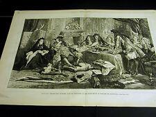 France LOUIS XIV 14th & MINISTERS & MADAME de MAINTENON 1872 Large Folio Print