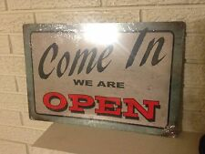 """Come In We Are Open"" New thick Aluminum sign 12 ""x 18"" Antiqued Business Sign"