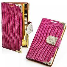 Book style sac Apple iPhone 4 4g 4s rose pink paillettes téléphone portable étui strass Bling Case