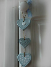 3 SHABBY CHIC STYLE hearts egg duck blue ♡
