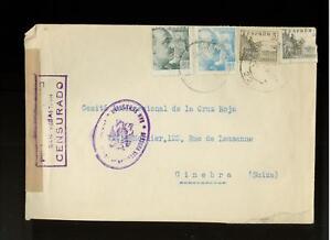 1940 San Sebastian Spain Censored Red Cross Cover Switz