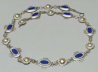 835 Silber Collier von WMF vergoldet blaues Email-Einlagen Halbmond-Krone punz.