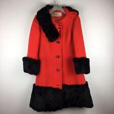 Lilli Ann Jacket California Orange Vintage Pea Coat Jacket Real Brown Fur
