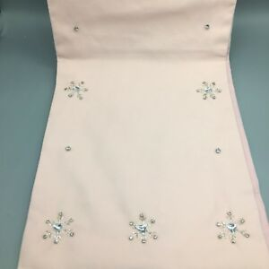 Cynthia Rowley Jeweled Rhinestone Snowflake Pink Table Runner Christmas Holiday