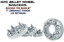"4 Pc 5x100 MM To 5x4.5"" (5x114.3 MM) 1"" Thick Wheel Spacers Changes Lug Pattern"