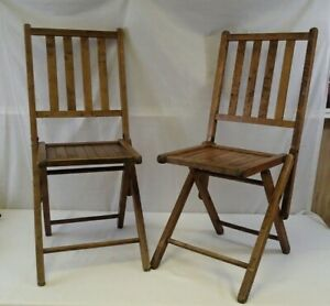 Vintage Set of 2 Wooden Folding Chairs Slatted Seats/Backs Mid Century Modern