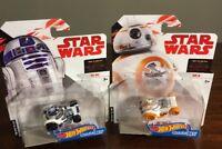 New Hot Wheels Star Wars The Last Jedi BB-8 & R2-D2 Character Cars * MINT* NEW