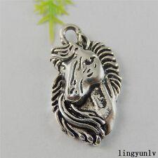 12 Colgantes Animales Caballo Unicornio nuevo tono plata tibetana encantos 15x19mm