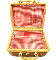 Lined Wicker Rattan Basket Small Picnic Basket In Red Checkered Cloth Lunchbox