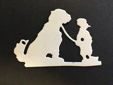 """Cardmaking Die Cuts White Card """"Boy and his Dog"""" Qty 12 -6.3x4.2cms"""