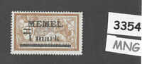 #3354  1 Mark  MNG stamp Sc26 1920 Memel / Lithuania / Prussia / Germany WWI