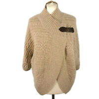 Kenar Size S 10 12 Oatmeal Beige Buckle Cardigan Jumper Angora Wool Blend Winter