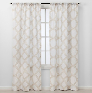 "Threshold Light Filtering Curtains KANA TAN WHITE Diamond 2 Panel Set 40"" x 84"""