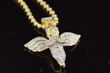 Mens & Ladies Silver 14k Gold Finish Lab Diamond Baby Angel Pendant With Chain