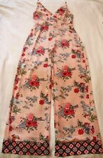 ASOS Blush Pink Floral JUMPSUIT Size 10 BNWT NEW Floral Palazzo Silky Black Red