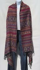 Yak Wool Shawl/Throw-Handloomed in Nepal-Reversible-Black/Purple/Red/Beige/Gold