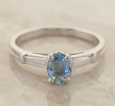 Aquamarine and Diamond Ring 18ct White Gold Size J