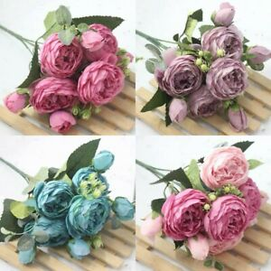 Artificial Silk Floral Peony Bouquet Home Wedding Bridal Party Rose Fake Flower
