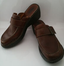 BORN Womens 9 /40.5 Mules Clogs Brown Leather Buckle Moc Toe Shoes Wedge W6635