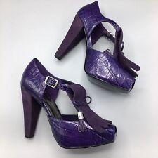 NIB BCBGirls Size 7.5 Purple Leather & Suede Heels Platforms Peep Toe