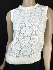 Valentino New Lace-Front Knit Top Ivory White $1990 Sz XS Sleeveless Pullover