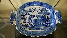 Lovely Georgiano presto WILLOW PATTERN Pickle piatto con manico modellato Rose