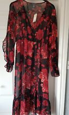 Gorgeous Red And Black Floral Chiffon Style Ruffle Sleeve Midi / Maxi Dress Size