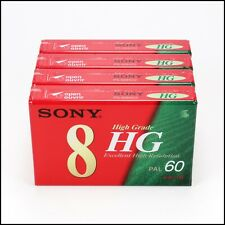 4 x Sony Video8 Hi8 60 Minutes High Grade Cassette Made In Japan - New & Sealed