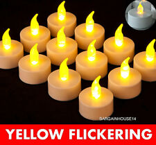 Yellow Flickering Flameless LED Tea Lights  Battery Operated  TeaLight Candles